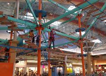 Pittsburgh Mills Sky Trail Plus Ropes Course #COUPON The Pittsburgh Mills Sky Trail is a 32 foot tall, 2 level ropes course complete with 30 exciting elements including zig-zag beams, cargo nets, angled rope ladders, crisscross walks and more. Participants choose their own path throught the elements and go at their own pace. The rope course is also equipped with a Sky Rail Zip Line connection measuring 69' long.