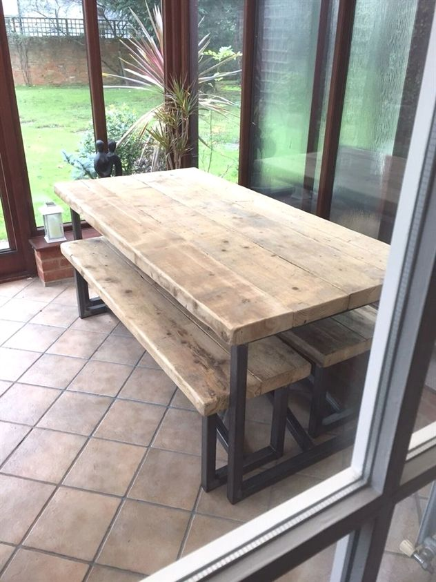 Farmhouse Dining Table Oval Industrial Mill Style Large Reclaimed