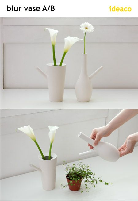 A functional and stylish piece of design. It's like a flower vase. It's like a pitcher.