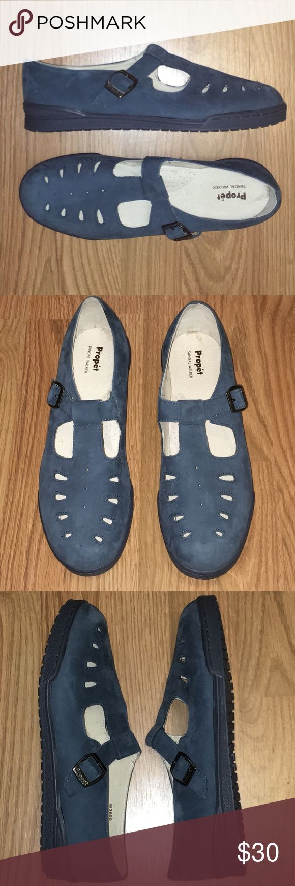 New! Propet Mary Jane T-Strap Shoes 8.5 W Wide New! Never worn. Women's Propet blue Nubuck leather sandal walkers in size 8.5W. Although they are size wide, they aren't as wide as most wide shoes. Propet Shoes Flats & Loafers