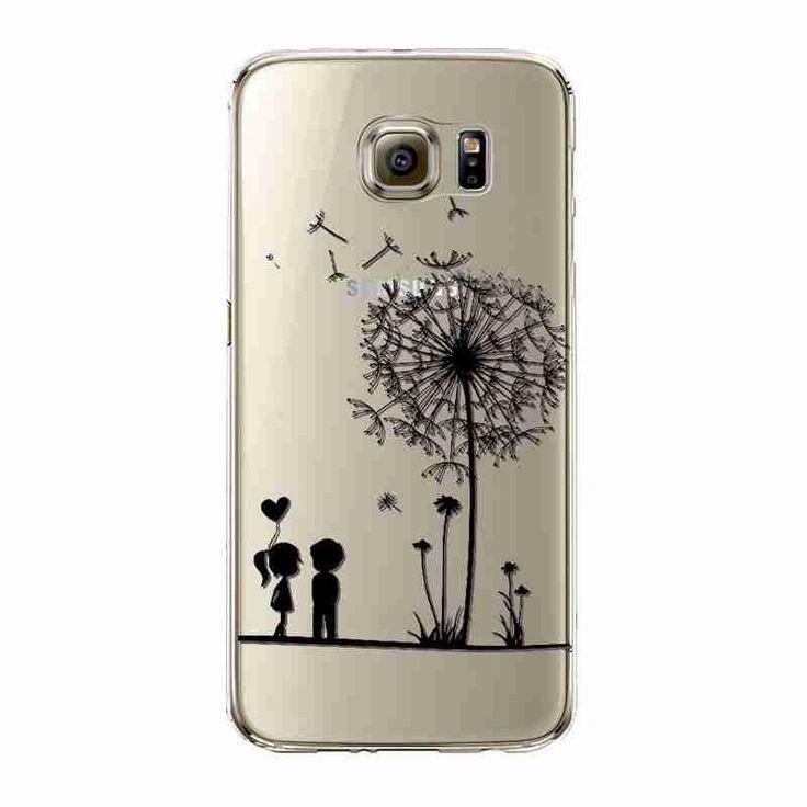 Phone Case For Samsung Galaxy S5/6 S6Edge Beautiful Dandelion Balloons Peacock Fruit Soft TPU Back Cover Skin Shell Capa Celular