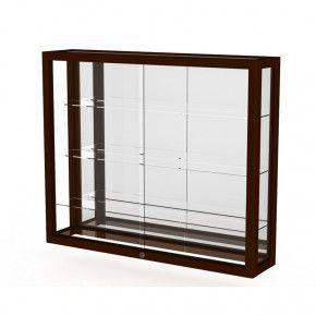 "Waddell Heirloom 890M Series Hardwood Wall Display Case 36""W x 30""H x 8""D (mirror back/cordovan)"
