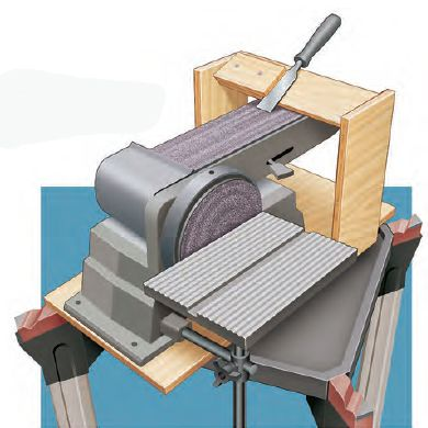 Afiação de ferramentas _How to Build a Plywood Belt Sander Tool Sharpening Jig and Tool Rest. Rockler.com Woodworking Tools