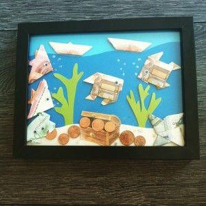 Geldgeschenk für eine Hochzeit - Fische aus Geldscheinen falten