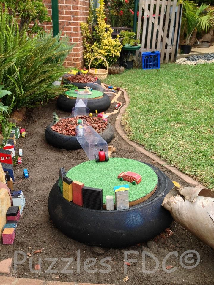 Tire play - Puzzles Family Day Care ≈≈ I could get lost on this fb page for hours or days, maybe.  There are just SO many great ideas.