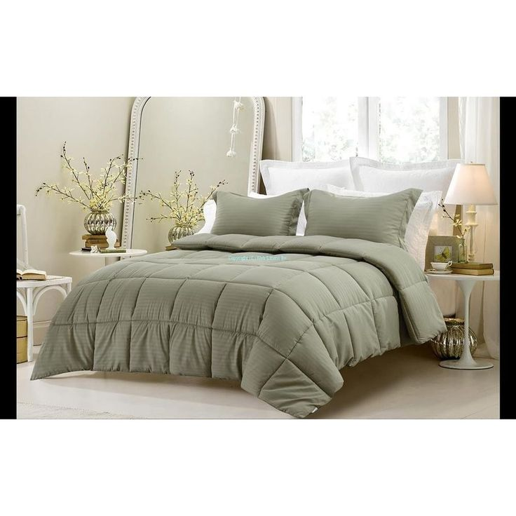 Queen Size Luxury Comforter set 3pc Reversible Solid/Emboss Striped Sage Bedding #Unbranded #Contemporary