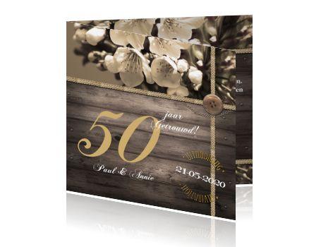 Uitnodiging feest 50 jaar getrouwd vintage