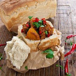 Lamb and potato bunny chow. The perfect dish for a funky lunch party.