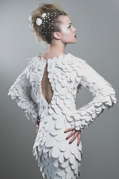 Paper dress with white scale textures; sculptural fashion; paper couture // Casey Watson