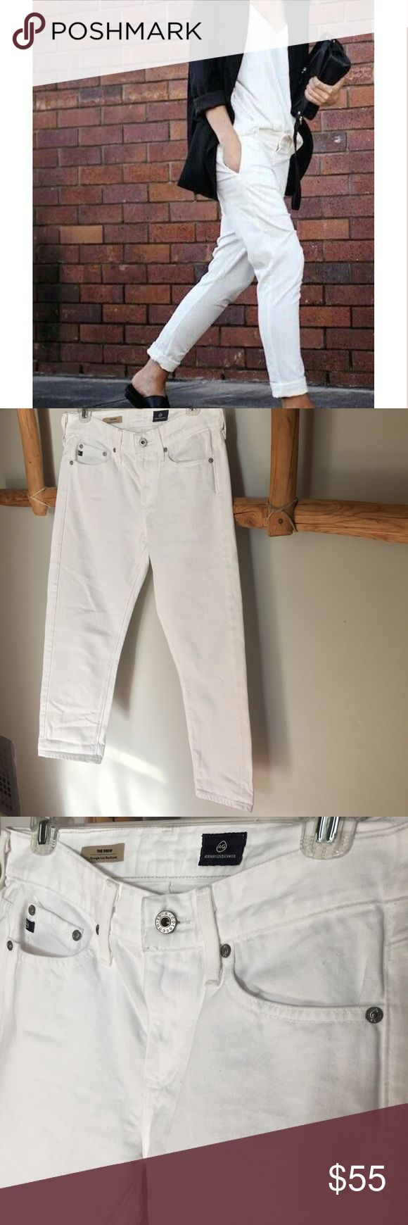 "AG // Straight Leg Boyfriend White Jeans These relaxed boyfriend fit jeans are the perfect run around town casual cropped pant. They are on the shorter side for the length, and run a big as they are meant to be baggy. Looks dynamite cuffed with a moto boot, wedge, or just about any shoe to complete the look of this jean. 26"" unrolled inseam; 14"" leg opening; 10 1/2"" front rise; 14"" back rise  Zip fly with button closure. Five-pocket style. 81% cotton, 19% lyocell. AG Adriano Goldschmied…"