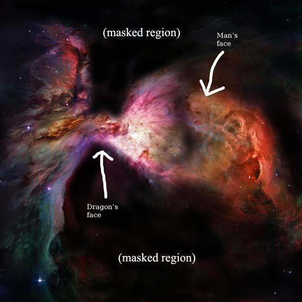 dragon fight in the Orion nebula!!!: Dragon Faces, Dragon Nebulas, Geek Stuff, Orion Dragonfight, Spaces Theuniv, Dragon Fight, Bad Astronomy, Man Dragon Nebula1 Jpg 620 620, Orion Nebulas