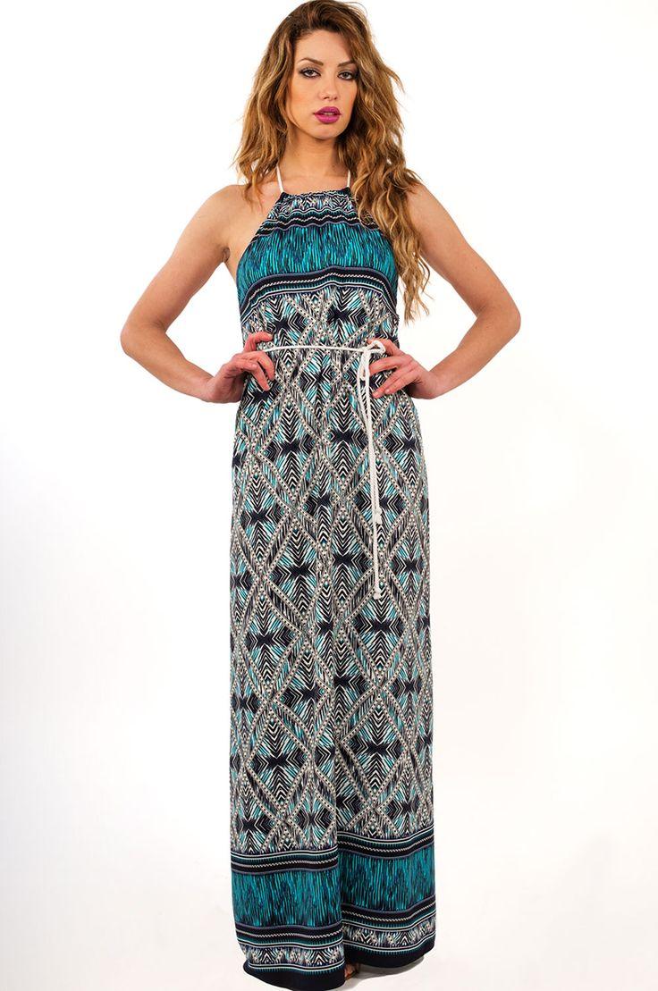 Γυναικεία ρούχα : Φόρεμα σε φαρδιά γραμμή εμπριμέ ΜΠΛΈ