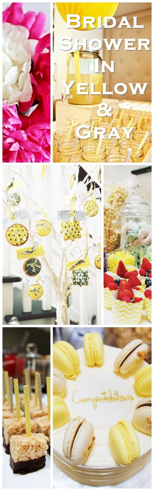 Bridal Shower in Yellow and Gray. Shower and party ideas. Featuring a beautiful sweets table and candy bar, tissue poms, peonies, DIY rice crispy treats and royal icing cookies.