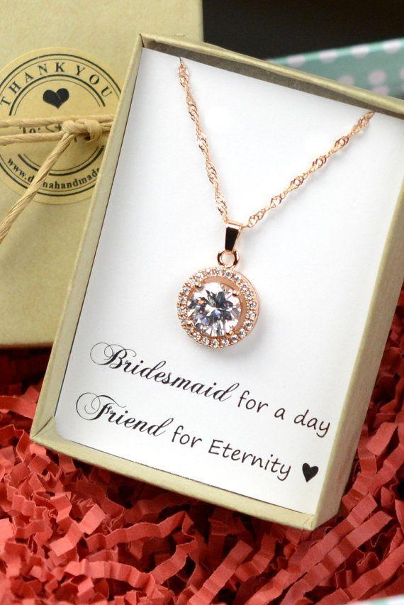 Bridesmaid gifts ,Wedding Jewelry Bridesmaid Jewelry Bridal Necklace Bridesmaid Necklace Clear White Crystal halo drop Necklace, rose gold