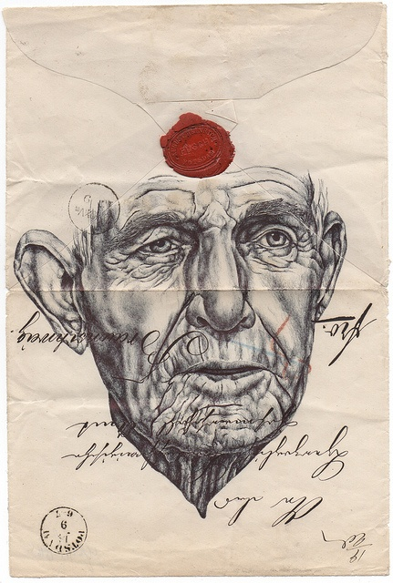 Bic Biro drawing on 1896 envelope. by mark powell bic biro drawings, via Flickr