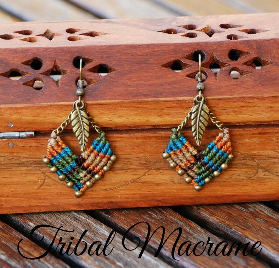 American indian & ethnic earrings macrame chains by TribalMacrame