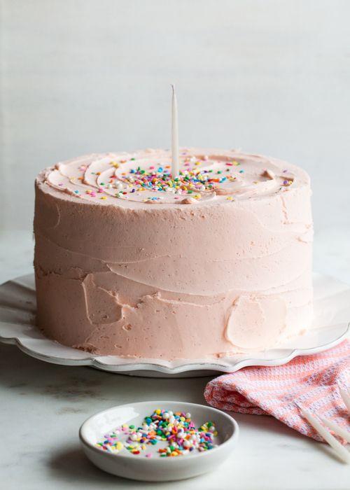 Pink Vanilla Birthday Cake