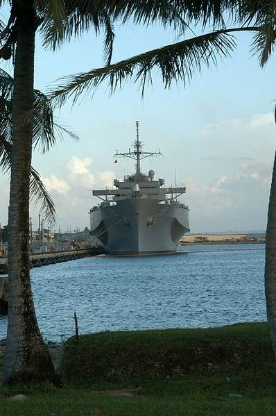 The 7th Fleet Amphibious Command and Control Ship USS Blue Ridge (LCC-19) rests at Victor Six pier in Guam during a recent port call.