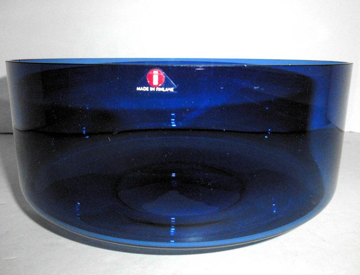 "iittala Cobalt Blue Large Glass Bowl Timo Sarpeneva Finland i-series N6822 8"" by TimelessThemes on Etsy"