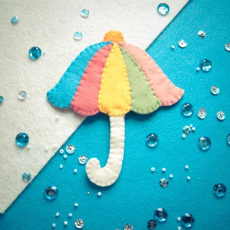 Handmade by Martha Stark tags: #handmade #marthastark #brooch made of #felt #decoration #rekodzielo #bead #thread #colourful #fancywork #umbrella #rain