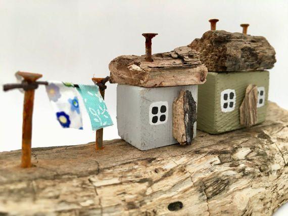 Little wooden Houses Driftwood Art Coastal decor Miniature