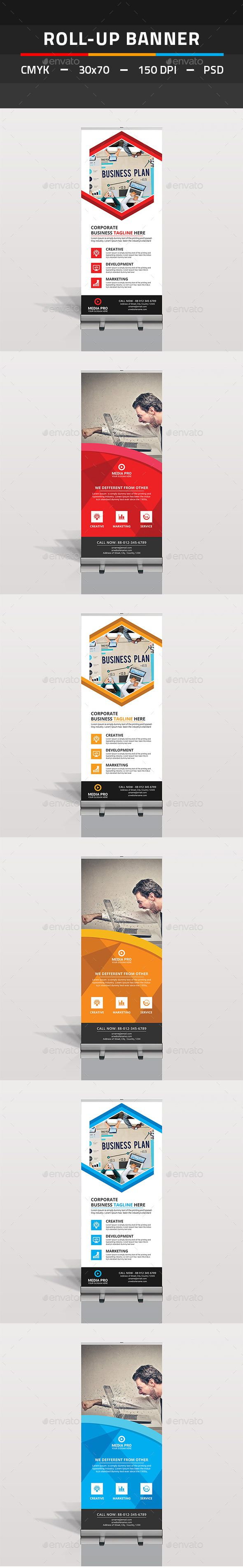 Roll Up Banner Bundle by tauhid1989 This is a Corporate Roll Up Banner Template Bundle. This template download contains 150 DPI, Print-Ready, CMYK, Layerd PSD files.