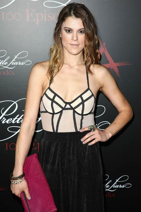 Lindsey Shaw at the Pretty Little Liars 100th episode celebration in May 2014...