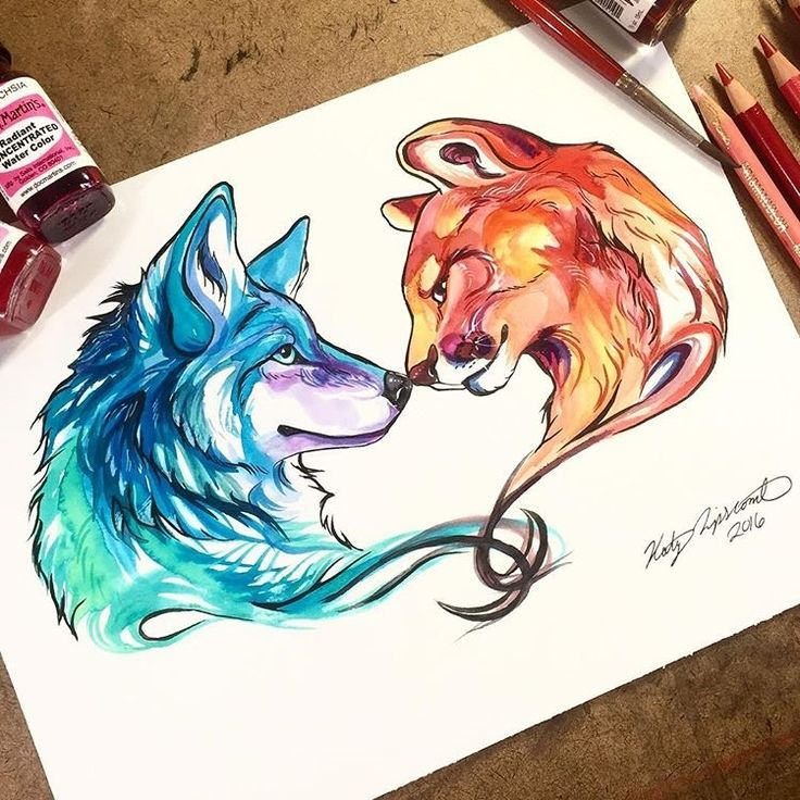 """""""Wolf and Mountain Lion  By: @katy_lipscomb _ Via: @universeofartists"""""""