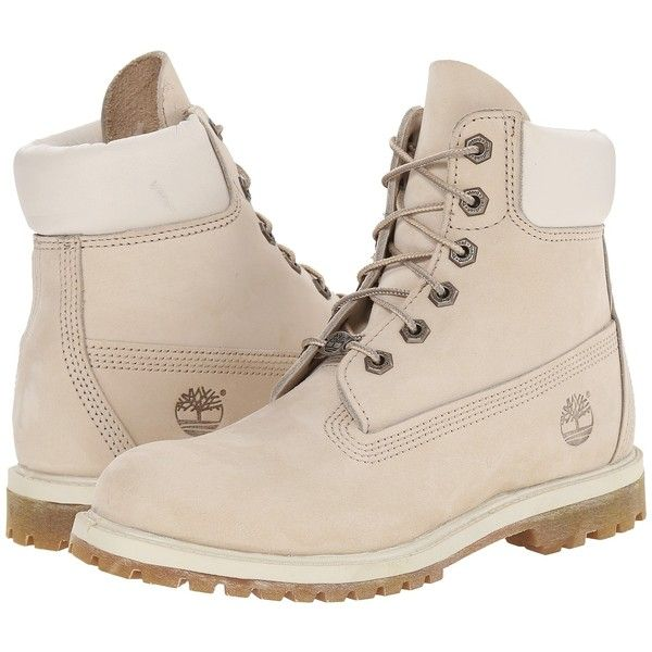 Timberland AF 6 in Boot Women's Boots, White ($108) ❤ liked on Polyvore featuring shoes, boots, ankle boots, white, lace up boots, white short boots, water proof boots, bootie boots and white boots