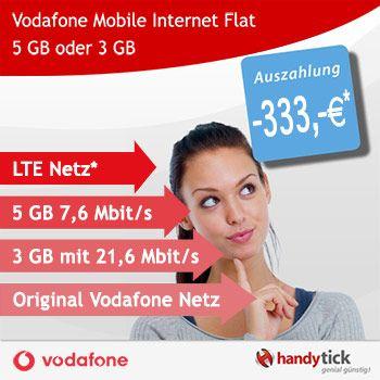 Vodafone Mobile Internet Flat mit 5 GB oder 3 GB LTE und 333,- EUR Auszahlung effektiv für 7,36€