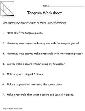 Teach Your Kids About Shapes With These Tangrams Worksheets: Tangram Worksheet