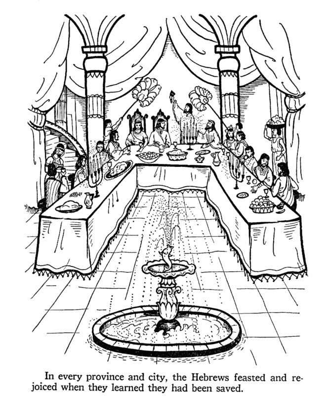 Ester Bible Story Coloring Page BIBLE ESTHER