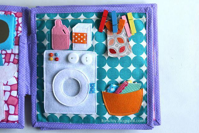 Handmade quiet book Dollhouse, busy book for girl, laundry, Развивающая книжка Кукольный домик, стирка