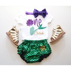 Little Mermaid first birthday outfit, under the sea outfit, mermaid ruffle bloomer, under the sea party theme. little mermaid party. by GabyRobbinsDesigns on Etsy