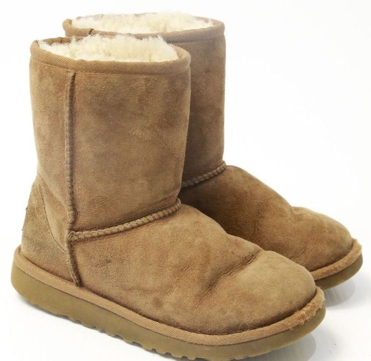 Girls UGG Boots Brown / Off White Fur Size 2 #UGGAustralia #Boots
