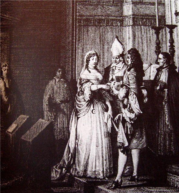 Тайн.венчание Людовика XIV и мадам де Ментенон.Антуан Арно писал Дювоселю: «Не вижу,что можно найти предосудит.в этом браке,заключ.по всем правилам Церкви.Этот брак унизителен лишь в глазах слабых,к-рые смотрят как на унижение на брак с женщиной старше себя и намного ниже себя рангом;на сам.деле король соверш.деяние, угодное Господу, если он смотрел на этот союз как на средство от св.слабости,к-рое помешает ему совершать предосудит.поступки.»