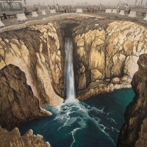Hidden Water Fall - 3D Street Art