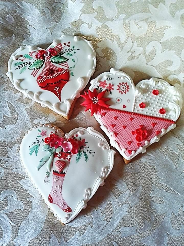 Christmas hearts with ornament, lady's stocking by  J. Vanner