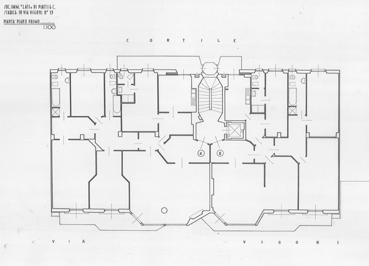 housing - via Giuseppe Vigoni 13 - Milano - first floor - Luigi Caccia Dominioni - 1959