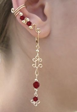 Ear Wrap with Dangle on Lever Back Ear Wire