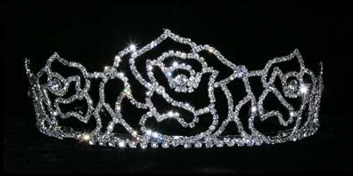"""Rose  ring  tiara  2 1/8""""  tall  - $41.95 For  more  info  please  contact - Shoot  for  the  Moon  Jewelry  Designs (850) 230-9983 #bridaltiaras #tiaras #rhinestones"""