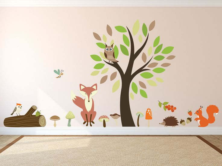 Childrens bedroom wall stickers kids wall decals for bedroom or playroom tree wall sticker animal wall decals woodland wonders