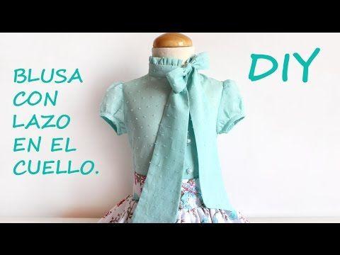 Como hacer una blusa con lazo en el cuello para niña. - YouTube