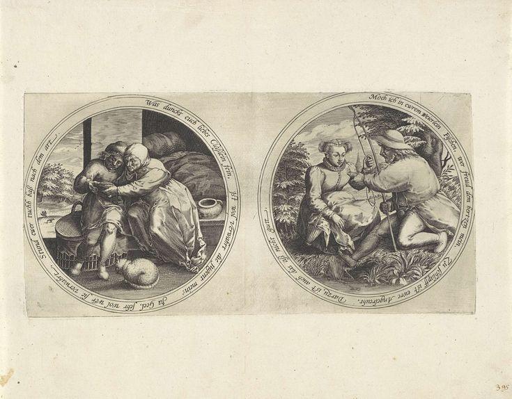 Anonymous   Echtpaar met een spiegel en een visser die een vrouw een vis overhandigt, Anonymous, 1555 - 1631   Twee medaillons met een dubbelzinnig randschrift in het Duits. Op het linker medaillon zitten een man en een vrouw, Claas en Geel, bij een bed. Ze bekijken zichzelf en elkaar in een spiegel. Voor hen op de grond zit een poes. Op het rechter medaillon zit een vrouw bij een beek. Voor haar zit een visser, die haar een vis overhandigt.
