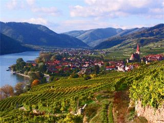 Wachau, Austria--Abbeys and castles crown the rolling hills of the Wachau, a Danube River valley where sunny skies smile down on vineyards producing a significant share of Austria's wine.