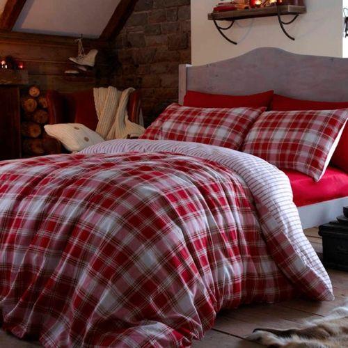 catherine lansfield cotton flannelette red tartan duvet cover quilt set in home furniture u0026 diy bedding bed linens u0026 sets