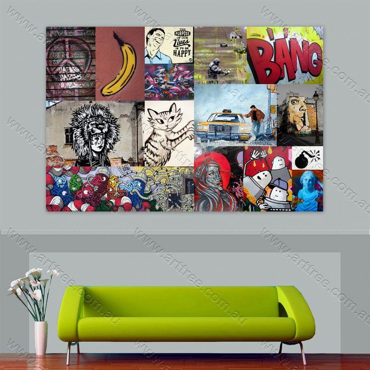 Taxi urban graffiti collage
