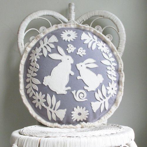 handmade felt pillows, illustration, craft, design, cushion, paper cut, fabric, sewing, DIY, home, interiors, rabbit, bunny, flowers, wreath