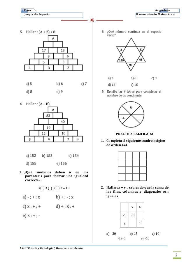 2 Juegos De Ingenio Imprimir Juegos Matematicos Secundaria Juegos De Logica Matematica Juegos De Matemáticas