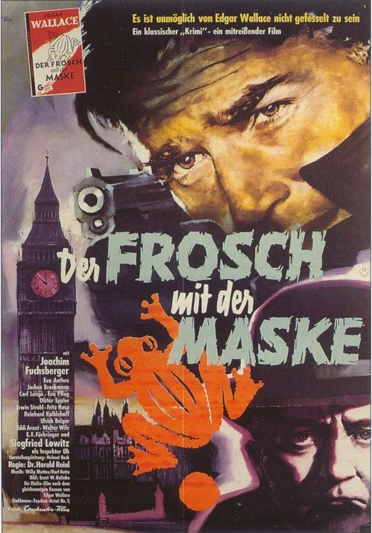 """Movie poster: Der Frosch mit der Maske (1959) based on the Edgar Wallace novel """"The Fellowship of the Frog"""""""